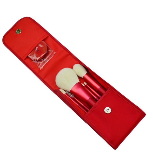 6 pcs Red Makeup Brush Set with travel bag