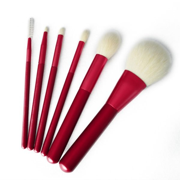6 pcs Set Red Makeup Brush Set