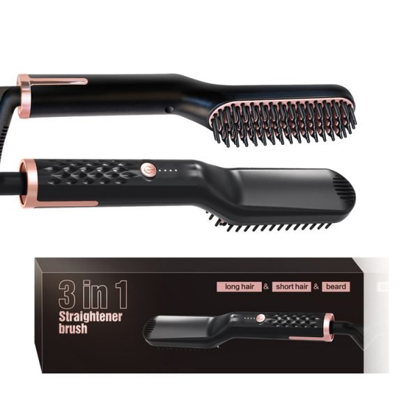 Heated Straightener Brush Black