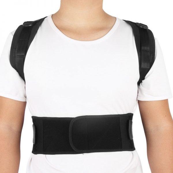 Adjustable Upper Full Back Brace Black Color