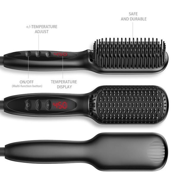 Electric Straight Hair Comb Brush Black