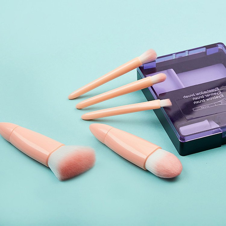 5PCS Travel Makeup Brush Set Pink Color