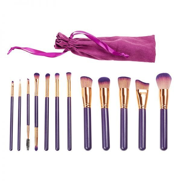 12 Pieces Makeup Brush Set With Purple Travel Pouch