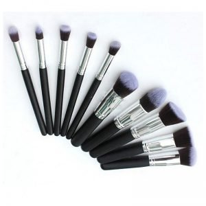 10pcs black and silver makeup brush