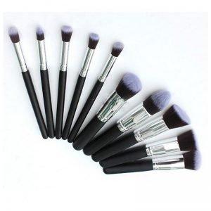 10pcs black and silver makeup brush