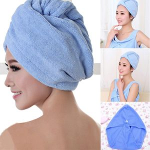 Microfiber Hair Towel Wrap with Button