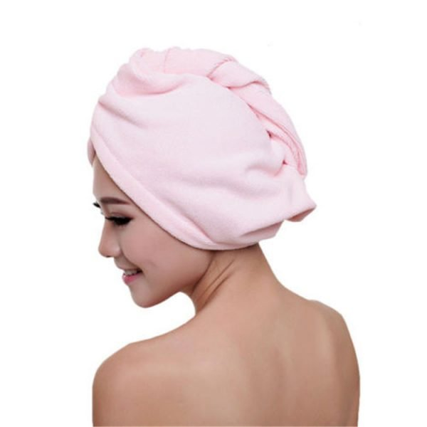 Microfiber Hair Towel Wrap with Button for Long Hair Pink