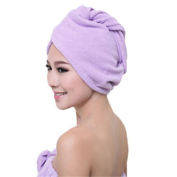 Microfiber Hair Towel Wrap with Button for Long Hair Purple