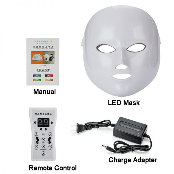 Led Face Beauty Mask 7 Color Light Therapy Facial Mask Package