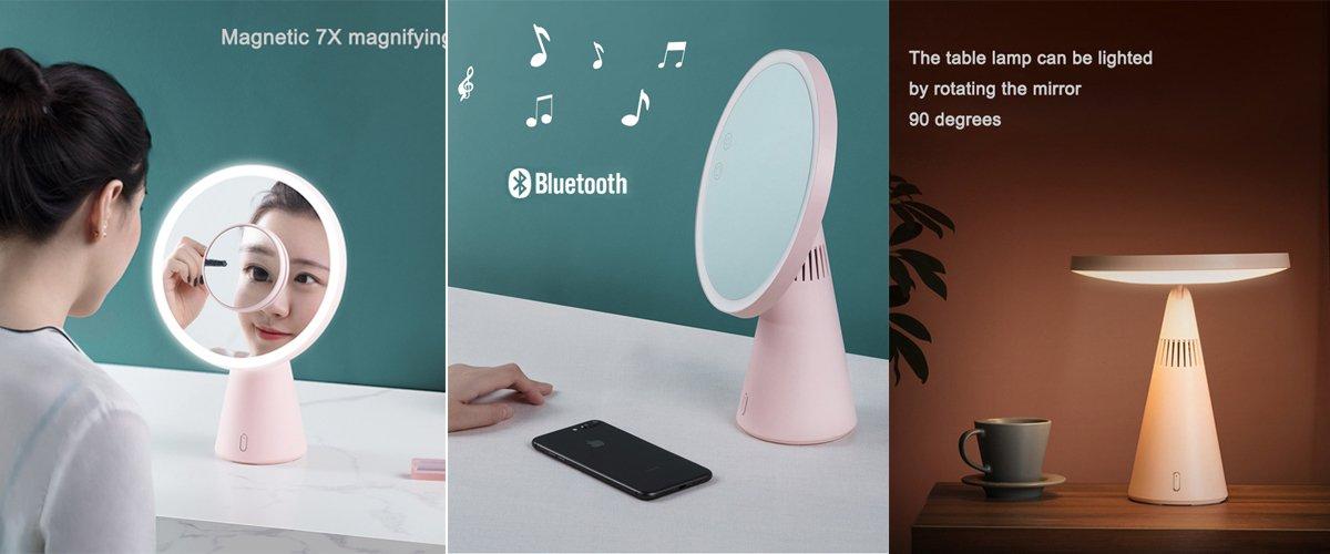 Bluetooth Speaker Lamp Makeup Mirror