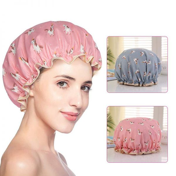 Double Layers Shower Caps with Unicorn Image