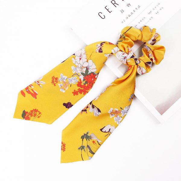 Hair Scrunchies Chiffon Floral Hair Scarves Ribbon Scrunchie (5)
