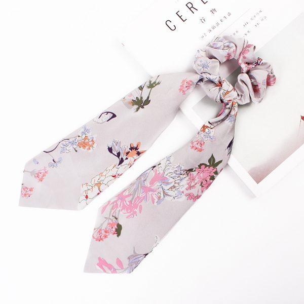 Hair Scrunchies Chiffon Floral Hair Scarves Ribbon Scrunchie (5)
