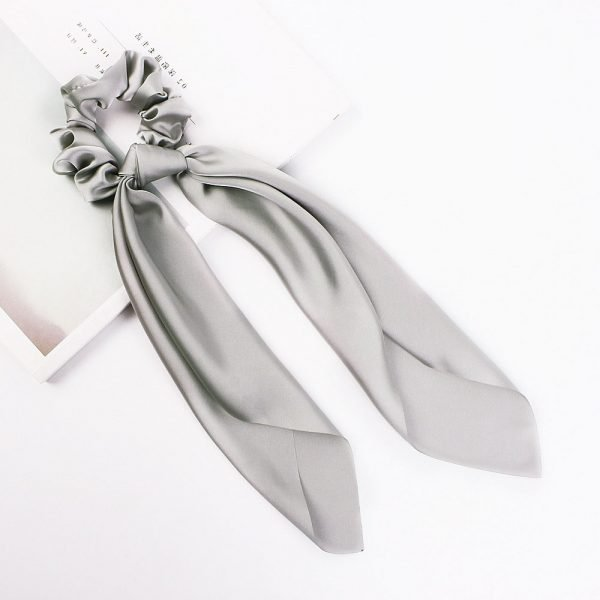 hair scarf scrunchie silk gray