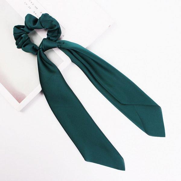 hair scarf scrunchie silk green