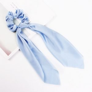 hair scarf scrunchie silk light blue