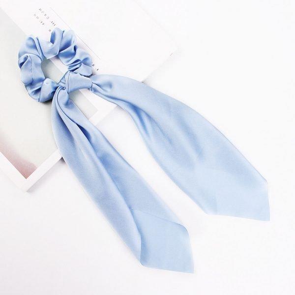 hair scarf scrunchie silk light blue