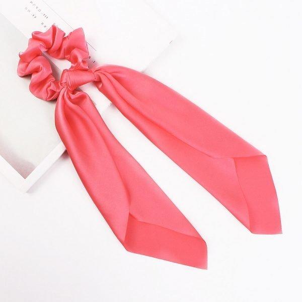 hair scarf scrunchie silk light red