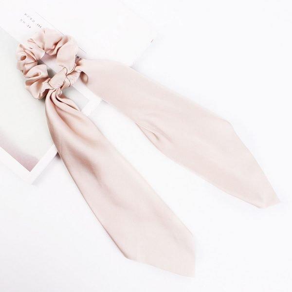 hair scarf scrunchie silk pink