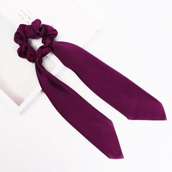 hair scarf scrunchie silk purple