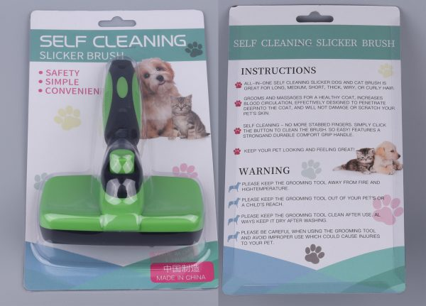 Dog or Cat Self Cleaning Slicker Brush package