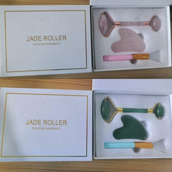 Jade Roller, Gua Sha and brush Massage Tool set wholesale